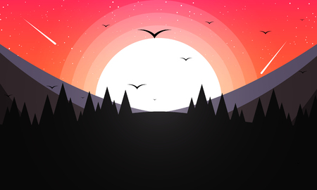 Forest in the background of mountains and sunset, vector art illustration.