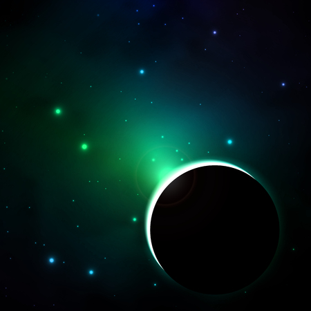 Coloring a planet in space, vector art illustration.