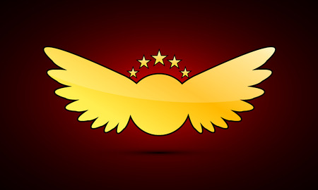 Golden coat of arms with wings, vector art illustration.