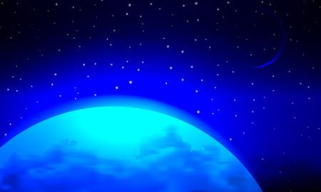 Landscape blue planet, vector art illustration of space. Illustration