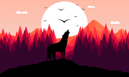 A roaring wolf, abstract vector art illustration.