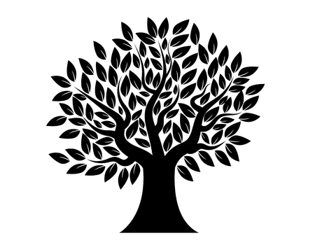 Stencil tree with leaves, vector art illustration.