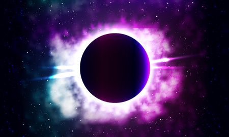 mapas conceptuales: Bright background of a galaxy,eclipse  vector art illustration.