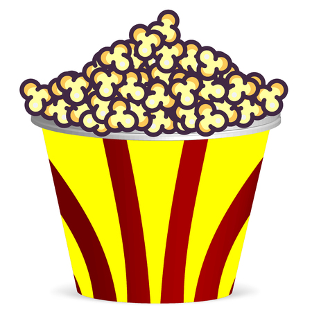 Bucket with popcorn, vector art illustration of food.