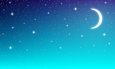 Moon in the night starry sky, vector art illustration.