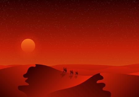 Travelers in the desert, vector art illustration. Ilustração