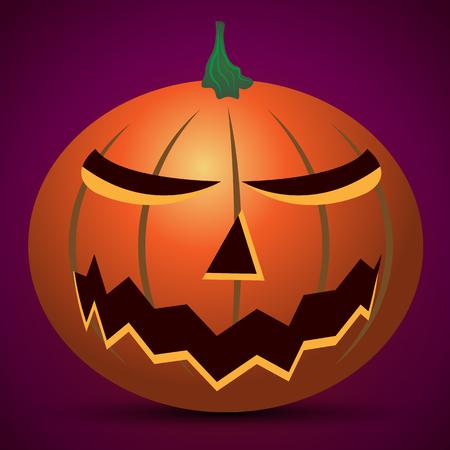 Carved pumpkin on Halloween, vector art illustration. Illustration