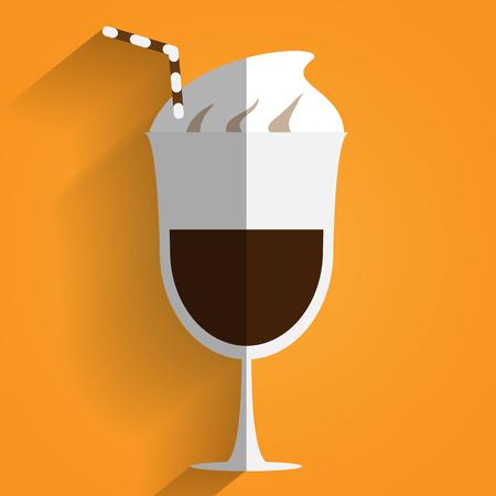 Flat designer cocktails with coffee, vector art illustration.