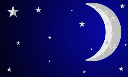 Gray crescent with stars, vector art illustration. Illustration