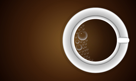 Cup with bubbles of coffee, vector art illustration.