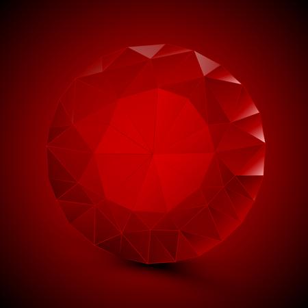 Round red ruby, vector art illustration of a gem. Illustration
