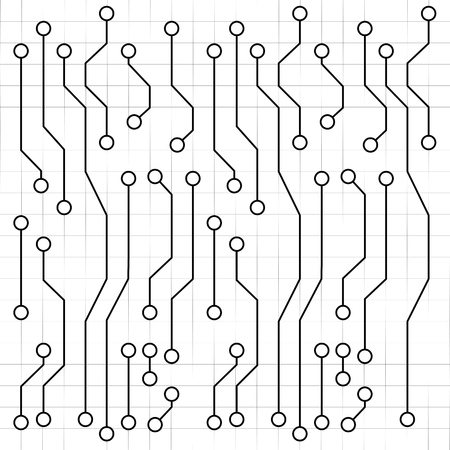 Electronic Circuit Board Drawing, Vector Art Illustration. Royalty ...