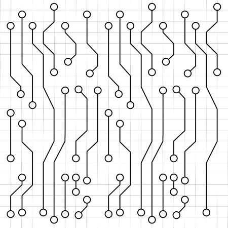 Electronic circuit board drawing, vector art illustration. Çizim
