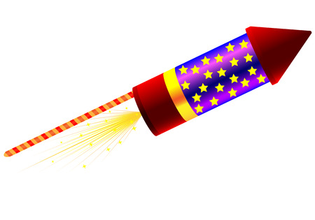 Rocket for fireworks, vector art illustration of a holiday.