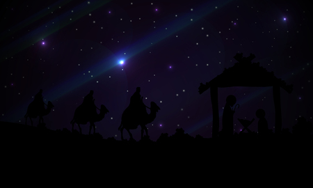 Abstraction of three wise men and Jesus, vector art illustration.