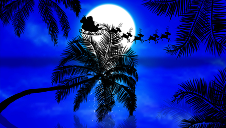Santa Claus flying by the palms at sunset, vector art illustration.