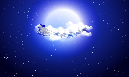 Santa Claus in the background of a full moon and clouds, vector art illustration. 矢量图像