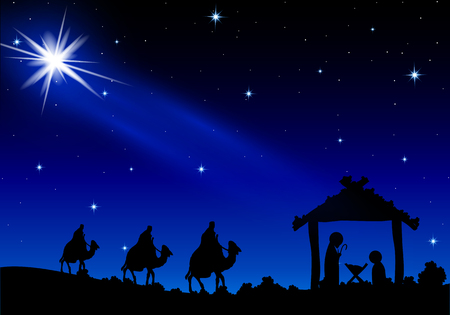 Jesus Mary and Joseph under the stars, vector art illustration.