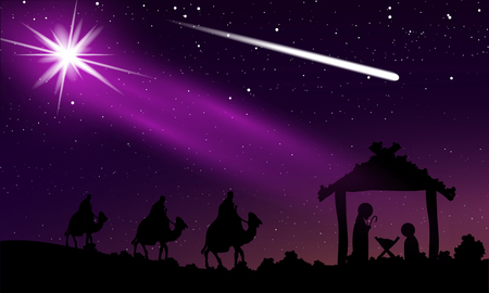 Christmas of Jesus and comet in the night starry sky, vector art illustration.