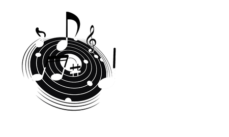 Logo of the musical galaxy, vector art illustration.