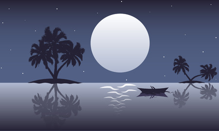 Abstract ocean landscape with palm trees and boats, vector art illustration.