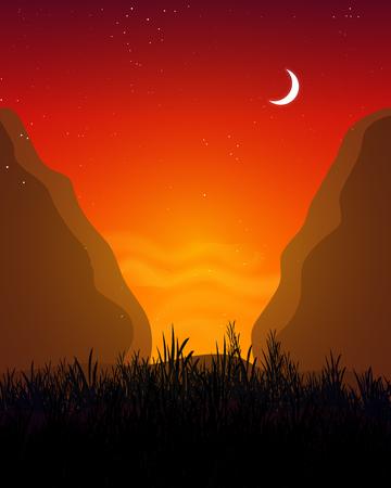 Landscape between the gorge, vector art illustration.