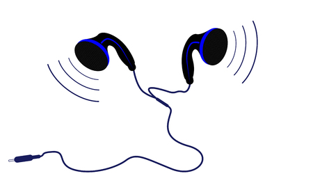 Small headphones, vector art illustration of music.