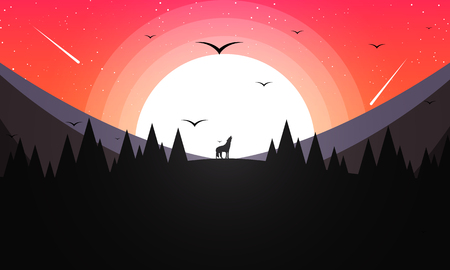 A howling wolf in the background of mountains and sunset, vector art illustration.