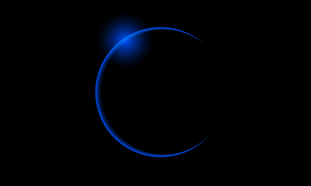 Blue solar eclipse, vector art illustration of space.