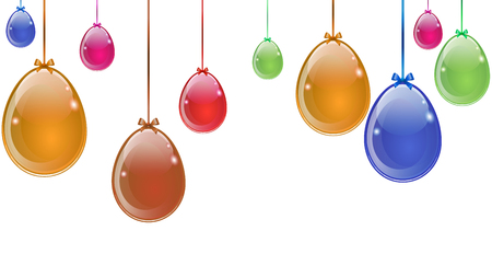 Abstract multicolored Easter eggs hanging on white background, vector art illustration.