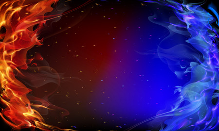 Abstract red and blue fire background art illustration.