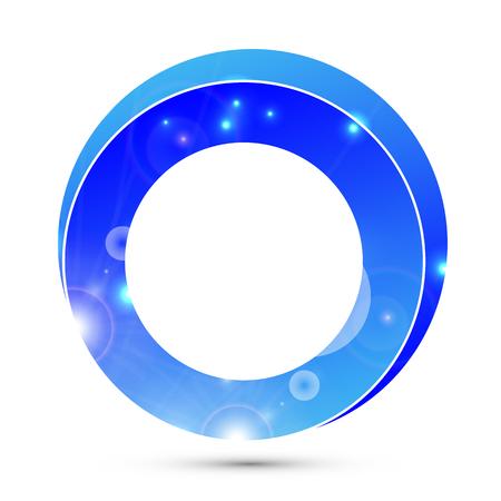 Logo 3d blue ring, vector art illustration background.