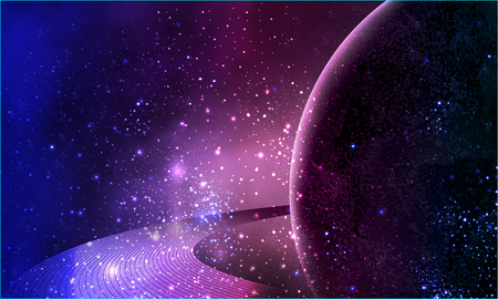 Violet planet in space with rings of Saturn, vector art illustration background.