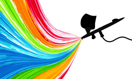 Spray gun with paint, vector art illustration. 일러스트