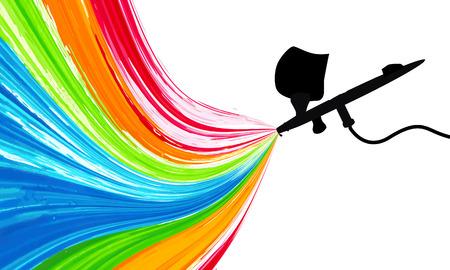 Spray gun with paint, vector art illustration. Illustration