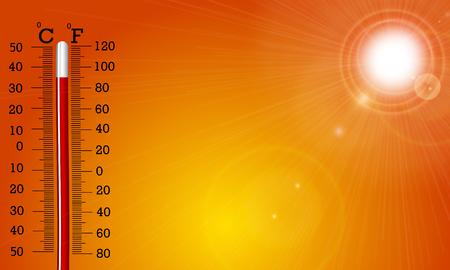 Bardzo gorące słońce i termometr, ilustracja wektorowa sztuki.