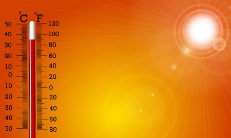 Very hot sun and thermometer, vector art illustration.