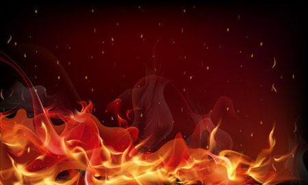 Red fire background, abstract vector art illustration.