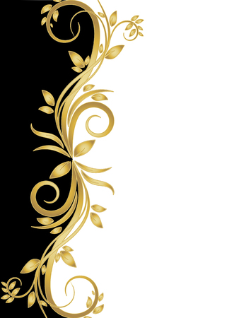 Black and white stencil with gold flowers, vector art illustration.
