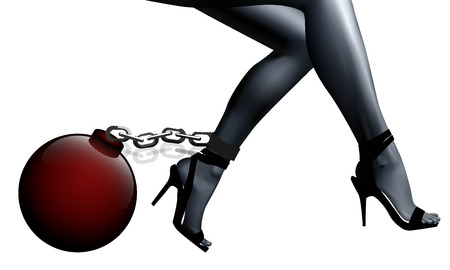 Piernas femeninas en cadenas y grilletes, ilustración de arte vectorial.
