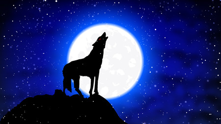 A wolf in the snow howls at the full moon, vector art illustration. Иллюстрация