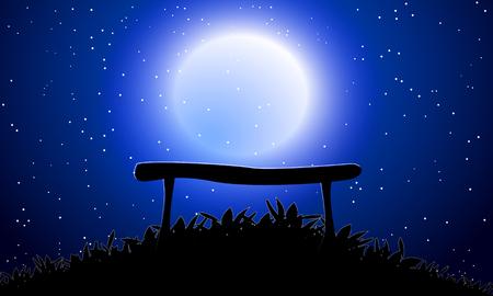 Banc contre le ciel de la lune, fond d'illustration vectorielle art. Vecteurs
