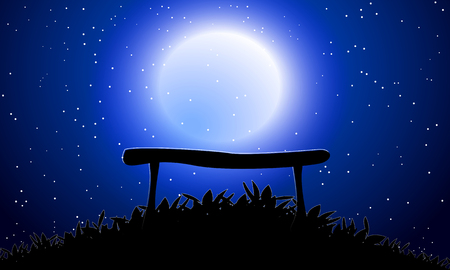 Bench against the moon sky, vector art illustration background.