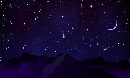 Comets over the mountain peaks, vector art illustration. Illustration