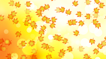 A lot of autumn leaves on a bokeh background, vector art illustration.