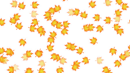 A lot of autumn leaves on a white background, vector art illustration.