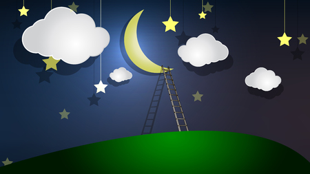 Staircase to the moon, vector art illustration. Vektorové ilustrace