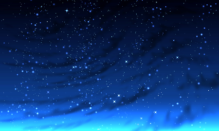 Abstract foggy night starry sky, vector art illustration.