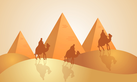 Landscape of the pyramids of Egypt, vector art illustration.