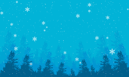 Snowy evening landscape with trees, vector art.
